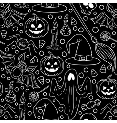 Halloween seamless Black and white pattern vector image