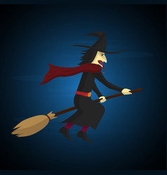 Halloween witch flying on broom vector