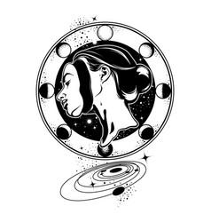 hand drawn young beautiful woman geometrical vector image