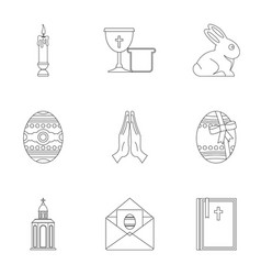 Happy easter icon set outline style vector