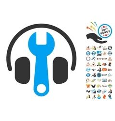 Headphones Tuning Wrench Icon With 2017 Year Bonus vector