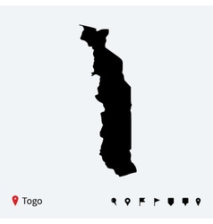 High detailed map of Togo with navigation pins vector image