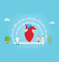 human heart health team doctor and nurse vector image