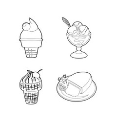 icecream icon set outline style vector image