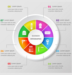 Infographic design template with barber icons vector
