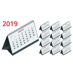 Isometric template calendar 2019 week starts on vector
