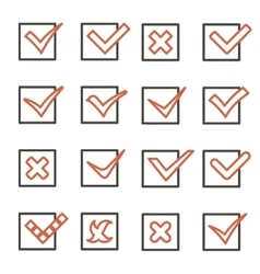 Line art Check Marks Symbols Tick and Cross Icons vector