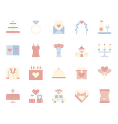 love and wedding related icon set vector image