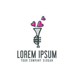 love saxophone logo trumpet design concept vector image