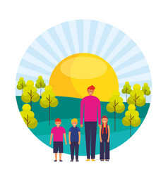 man with girl and boys in the landscape vector image