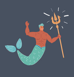 mermaid man isolated on a vector image