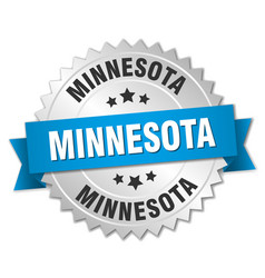 Minnesota round silver badge with blue ribbon vector