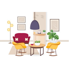 Modern interior of living room with comfy vector