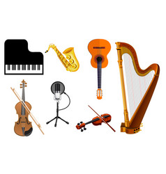 Musical instruments on isolated background eps 10 vector