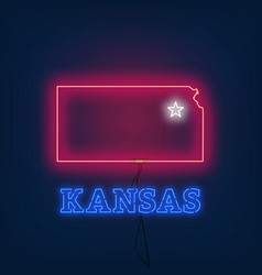 neon map state of kansas on dark background vector image