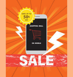 online shopping mall on mobile at discount sale vector image