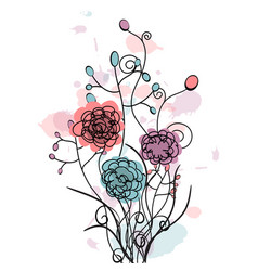 peony flowers drawing and line vector image