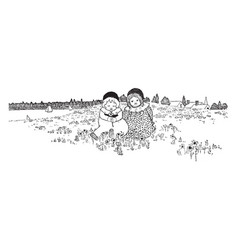 Picking daisies have two small children in a vector