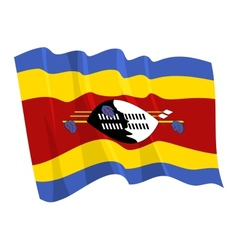 political waving flag of swaziland vector image