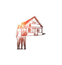 real estate couple house buying concept vector image