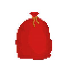 Red bag santa claus pixel art 8bit large sack vector