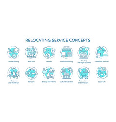 Relocation activities concept icons set moving vector