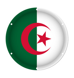 Round metallic flag of algeria with screw holes vector