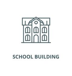 School building line icon linear concept vector