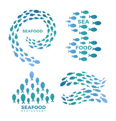 sea food restaurant cafe bar emblems isolated on vector image