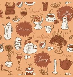 seamless pattern on the theme of drink and food vector image