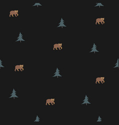 seamless pattern with brown bears pattern vector image