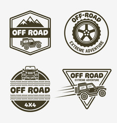 Set four off-road suv car monochrome emblems vector