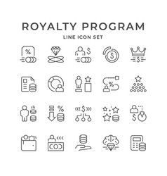 set line icons royalty program vector image