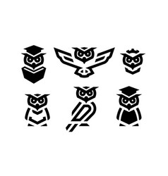 set linear owl logo or design template vector image