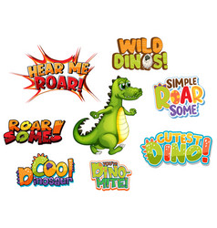 set of different dino word typography design vector image