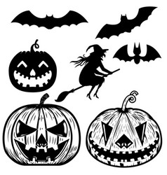 set of halloween icons witch halloween pumpkin vector image