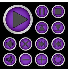 Set of neon buttons purple vector