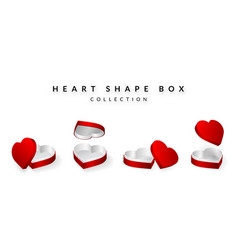 set of opened heart shape gifts box valentines vector image