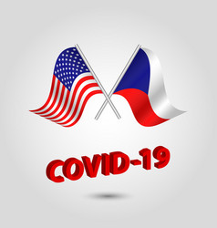 Set two waving crossed flags usa and czechia vector