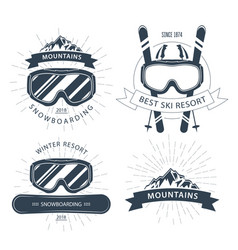 Ski resort emblem and labels with goggles vector