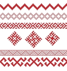 Slavic ornamental elements set vector