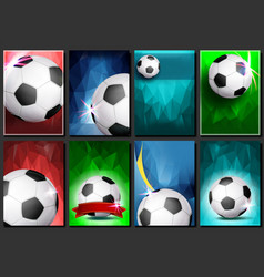 Soccer game poster set empty template for vector
