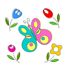Springtime flowers and butterflies vector