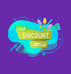 sprint discount tag flowers liquid shape vector image