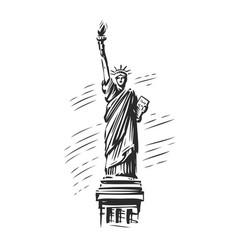 statue liberty symbol usa new york emblem vector image