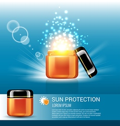 Sun protection for skin care with miracle light vector