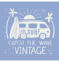 Surfing With Van And Text vector image