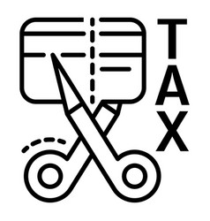 Tax cut credit card icon outline style vector