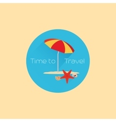 Time to travel icon with umbrella vector image