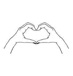 trendy gesture - heart made with hands in vector image